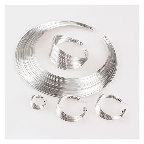 DSJTCH Juego de joyería India Moda Metal Alambre Torques Choker Collares Brazalete Pendientes Conjuntos de Anillos para Mujer Vestido Regalo Accesorios Nupciales (Metal Color : Silver)