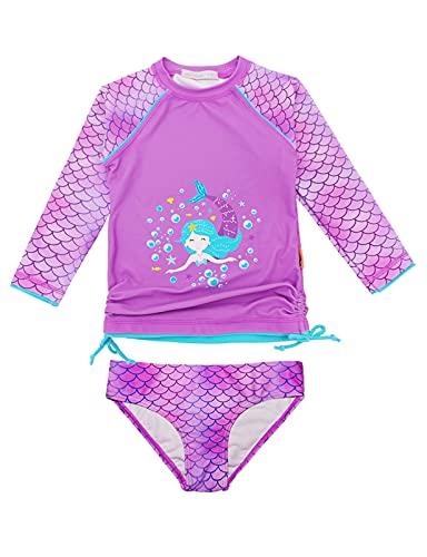 weVSwe Bañador para niña con protección UPF 50+ de manga larga, dos piezas, nudo de lazo, camiseta de baño con volantes, Sirena lila., 2 años