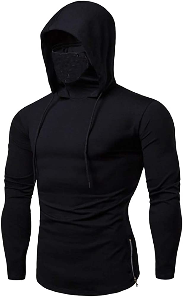 Mens Fashion Sweatshirt Slim Fit Pull-Over Sport Hoodie with Mask