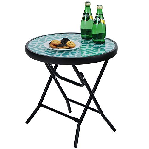 PHI VILLA Folding Side Table, Foldable Coffee Table, Outdoor Garden Table, Small Round Patio Table - Turquoise