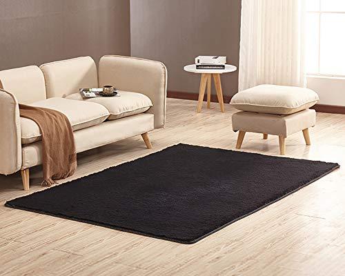 Tapis Moquette à Poils Court Lavable Antidérapant Carpet pour Salon Chambre Maison Décorer Noir 120cm x 160cm