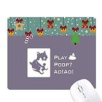 遊び好きなハスキー子犬 ゲーム用スライドゴムのマウスパッドクリスマス