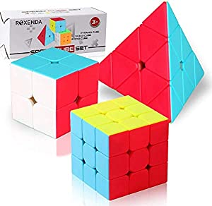 Roxenda Speed Cube Set, Stickerless Magic Cube Set of 2x2x2 3x3x3 Pyramid Frosted Puzzle Cube from Roxenda