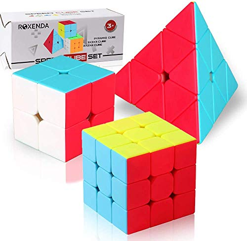 Roxenda Speed Cube Set, Stickerless Magic Cube Set of 2x2x2 3x3x3 Pyramid Frosted Puzzle Cube