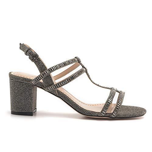 Sandalen van stof, grijs, met middelhoge hak, 820Z 96GT Plomo – maat
