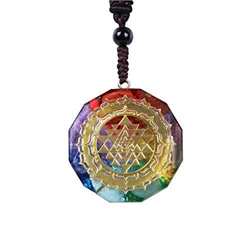 XQK Collar con Colgante De Orgonita, Cristal Natural Ágata Grava Geometría Sagrada Energía Meditación Joyería Mujeres Hombres (12 ángulos)