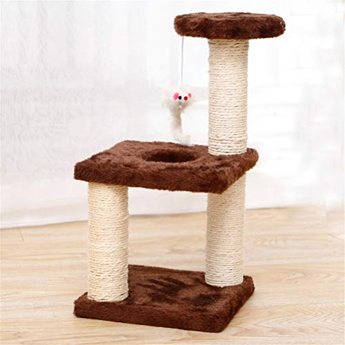 MIANBAO Pet Supplies Pet Cat Tree House Cat Climbing Frame Climbing Frame With Hammock Cat Table Pet Cat Toy Kitty Play House For Kitten (Color : Brown)