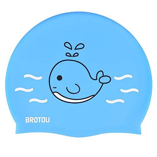 BROTOU Cuffia da nuoto per bambini, impermeabile, cuffia da nuoto per bambini, capelli lunghi e corti (blu)