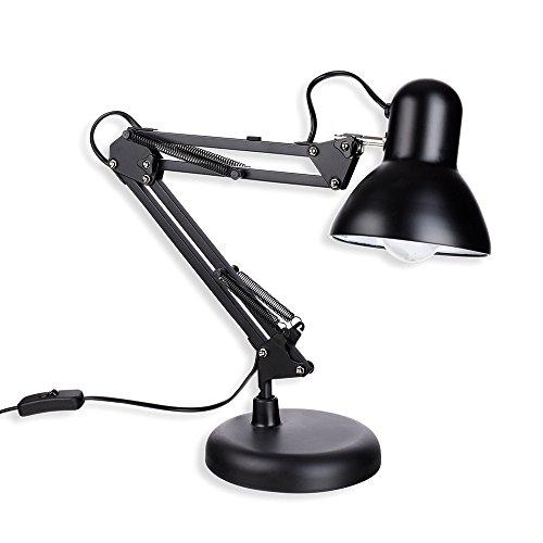 Schramm® Retro Schreibtischlampe in schwarz aus Metall mit Gelenkarm Arbeitslampe ohne Glühbirne Bürolampe Lampe Lampen