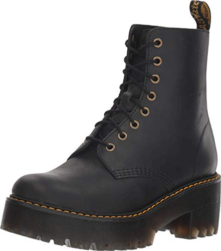 Dr. Martens Women's Shriver Hi Fashion Boot, Black Burnished Wyoming, 8
