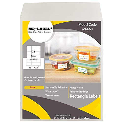 Mr-Label Waterproof Removable Adhesive Labels - Tear-Resistant Stickers for Kitchen   Manufacturing and Storage   Organising and Filing - Leaser Printer Only (Size:63.5x38.1mm) (10 Sheets/210 pcs)