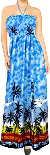 LA LEELA Likre Aloha hawaïen 3 en 1 Casual Longue Robe de Cocktail soirée Longue Robe Licol Cou Demoiselle Sundress Maxi Jupe Beachwear Couvrir loungewaer Robe sans Manches Bandeau Dames Bleu