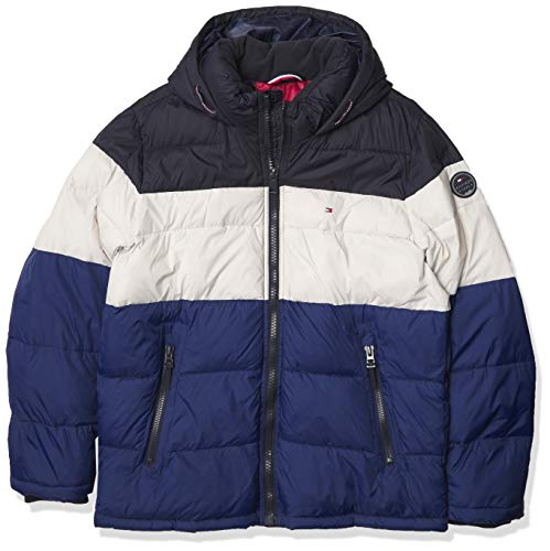 Tommy Hilfiger Men's Classic Hooded Puffer Jacket (Regular and Big & Tall Sizes), Royal Blue Color Block, 4X-Large Tall