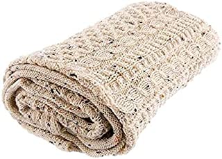 "58/"" x 40/"" Wool Throw Blanket Honeycomb Design Irish Aran Knit"