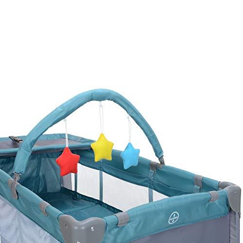 LCP Kids Baby-Reisebett 120x60 klappbar mit Neugeborenen Einlage Wickelauflage in Grün - 4