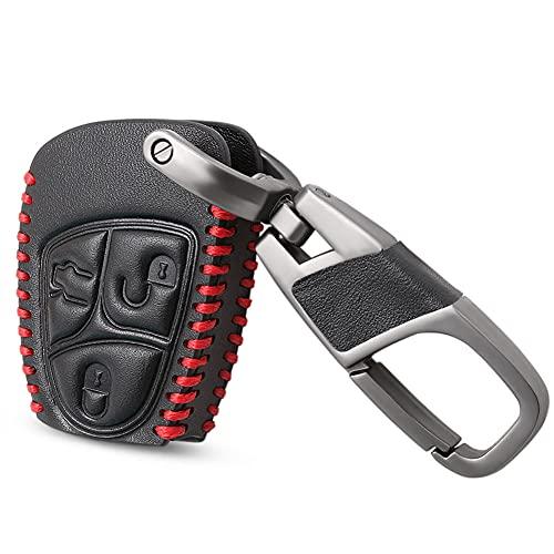 Funda de piel auténtica para llave de coche con 3 botones, para Mercedes Benz B C E S ML SLK Class