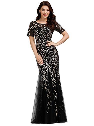 Ever-Pretty Vestito da Cerimonia Sirena Elegante Maniche Corte Rotondo Stile Impero Lungo Tulle...