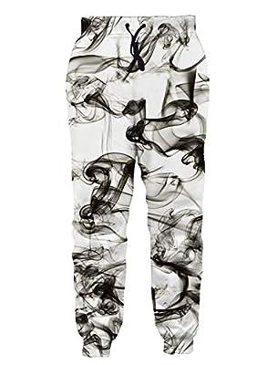 Adult 3D Print Vivid Smoke Pattern with Glasses Joggers Cool Hip Hop Supreme Clothing for Men Drawstring Fashion Novelty Comfy Jogger Pants Sweatpant Large
