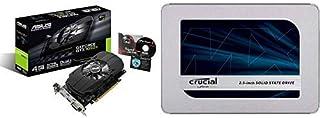 【セット買い】ASUS  NVIDIA GeForce GTX1050TI搭載ビデオカード オーバークロック メモリ4GB PH-GTX1050TI-4G & Crucial SSD 500GB 7mm / 2.5インチ MX500シリーズ SATA3.0 9.5mmアダプター付 CT500MX500SSD1/JP