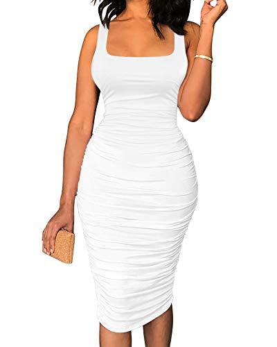 BEAGIMEG Women's Sexy Tank Top Bodycon Ruched Sleeveless Basic Midi Party Dress White