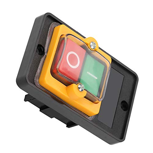 Leftwei Botón de presión de Taladro, 10A AC220V / 380V Control de Interruptor de botón Interruptor de botón de Encendido/Apagado para Mesa de Corte de maquinaria de Trabajo de Madera