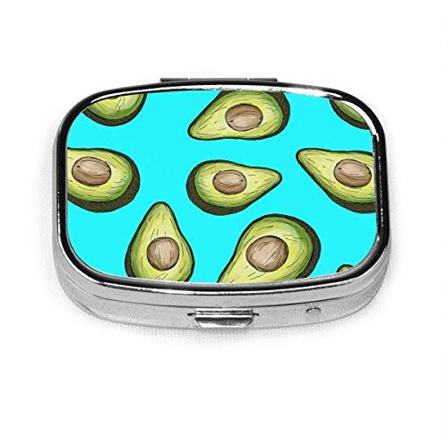 Caja organizadora de dibujos animados de aguacate compacta con 2 compartimentos para vitaminas y tabletas, contenedor de metal portátil para necesidades diarias de viaje bolso de bolsillo