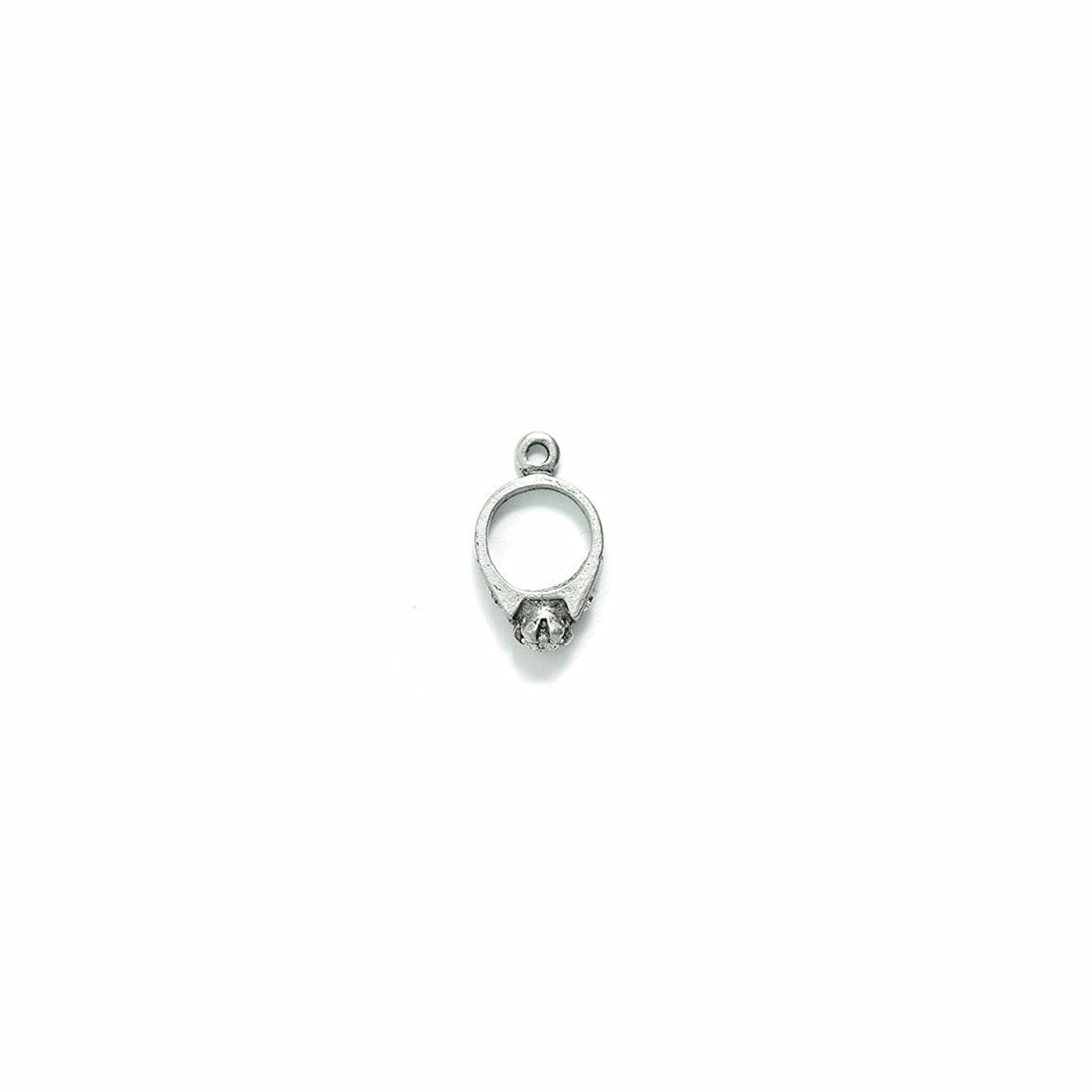 Shipwreck Beads Pewter Engagement Ring Charm, Silver, 12 by 20mm, 5-Piece