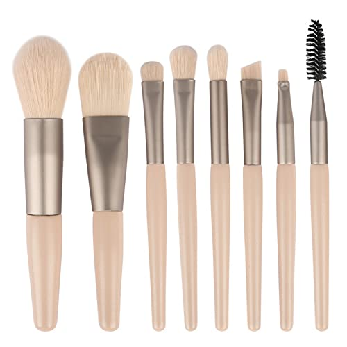 KFGF Pinceles de maquillaje para principiantes, juego de brochas de maquillaje para sombra de ojos, base, colorete, brocha de maquillaje, juego de mini pinceles caqui con 8 pinceles de maquillaje