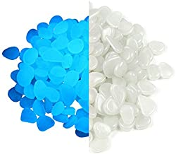 Party Zealot Inc 2lb 400PCS Glow in The Dark Pebbles Stones for Indoor and Outdoor Walkways Garden Driveway Large Bag Powered by Light and Solar (White)