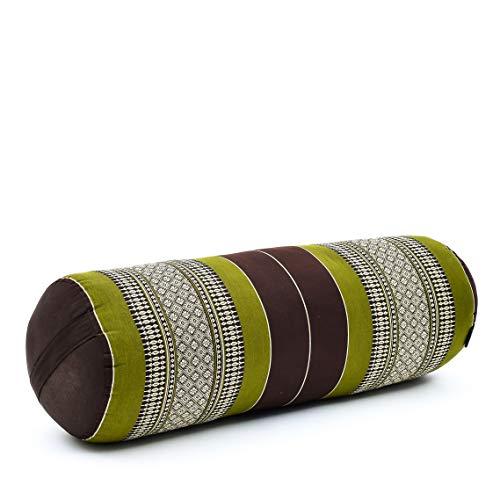 Leewadee Yoga Bolster Grande – Almohadilla tailandesa de kapok ecológico y Hecha a Mano, cojín Alargado para Pilates, 65 x 25 x 25 cm, marrón Verde