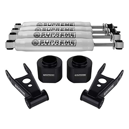 Supreme Suspensions - 3' Front + 2' Rear Lift for Jeep Cherokee XJ Lift Kit High-Density Delrin Spring Spacers + Steel Lift Shackles + Pro Performance Series Shocks