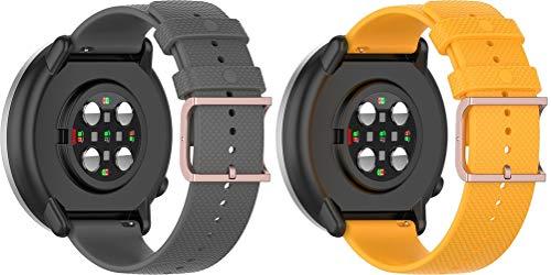 Simpleas Compatible con Garmin vívomove 3 (44MM) / Luxe (42MM) / Vivoactive 3 Correa de Reloj, Banda de Reemplazo Silicona Suave Sports Pulsera (20mm, Gris + Amarillo)