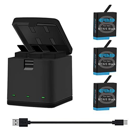 Oyomba Hero 8/7/6/5 Baterías de Repuesto (Paquete de 3) y Adaptador de Caja de Almacenamiento USB LED de 3 Canales Compatible con GoPro Hero 8/7 Black, Hero 5/6 Black, AHDBT-801