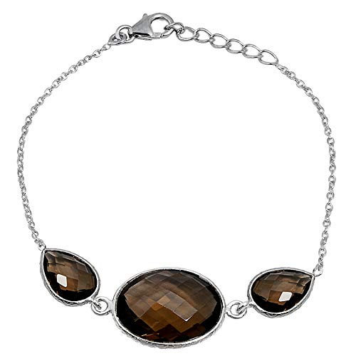 Orchid Jewelry 22.5 Ct Brown Smoky Quartz 925 Sterling Silver Chain Bracelet Birthday Gifts For Women