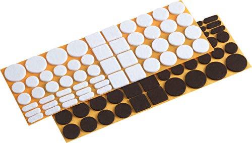 Metafranc Filz-Gleiter-Sortiment 110-teilig-selbstklebend-weiß/braun-Effektiver Schutz Ihrer Möbel & Stühle/Möbelgleiter-Set für empfindliche Böden/Stuhlgleiter/Bodengleiter / 645306