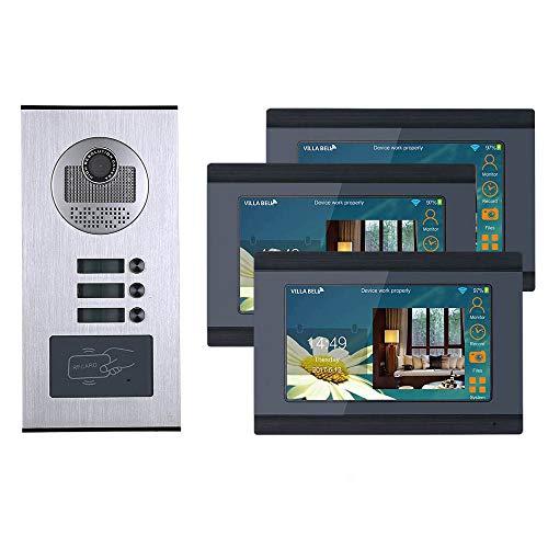 WiFi de 7 Pulgadas WiFi 3 Apartamento/Home Video Timbre Sistema de intercomunicación HD 1000TVL Cámara Cámara de Timbre Impermeable