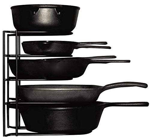 Heavy Duty Pots and Pans Organizer  For Cast Iron Skillets Pots Frying Pans Lids | 5Tier Durable Steel Rack for Kitchen Counter amp Cabinet Storage and Organization  No Assembly Required Black