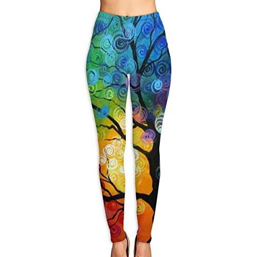 Leggings con Estampado de árbol Colorido para Mujer Pantalones de Entrenamiento de Yoga de Cuerpo Entero Pantalones Capri Suave