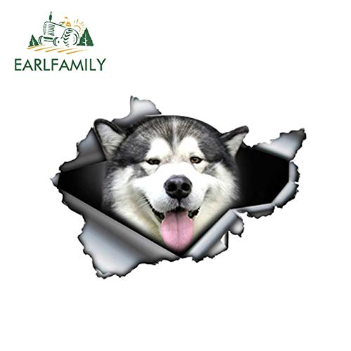 FAFPAY Car sticker 13cm x 9.3cm ripped malamute pet dog car sticker car decoration ripped metal decal reflective car style funny animalStyle A