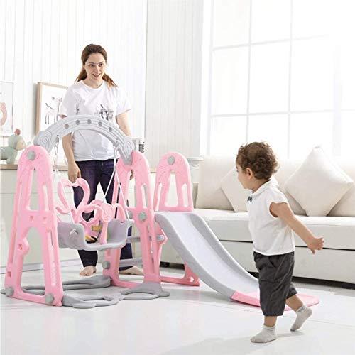 Muyuuu Juego de tobogán de escalador 3 en 1 con aro de baloncesto, columpio de tobogán y columpio para niños pequeños, combinación, parque infantil, juguete multifuncional para niños pequeños para int