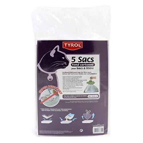 TYROL - Set di 5 sacchi per lettiera, fondo in cartone resistente alle griffe per gatti, 44 x 30 cm, 10 unità