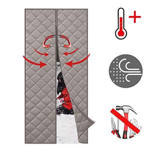 Wiskeo Türvorhang, wärmeisolierend, für den Winter, warm, magnetisch, isolierend, wasserdicht, abnehmbar, selbstklebend, einfach anzubringen, innen – Schwarz, grau, 130x105CM