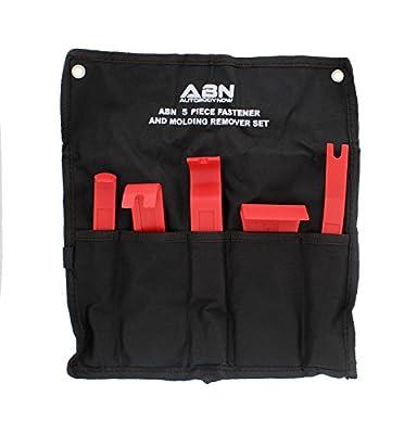 ABN Premium Auto Trim Removal Tool Kit - 5Pc Pry Bar Set, Fastener Remover Trim Molding Interior Door Dash Panel Remover