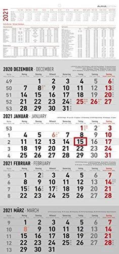 4-Monatskalender 2021 - Büro-Kalender 30x63 cm (geöffnet) - mit Datumsschieber - inkl. Jahresübersicht - Alpha Edition