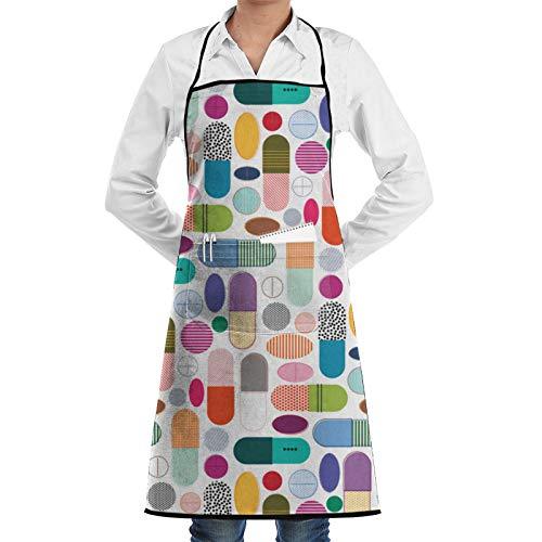 Dyfcnaiehrgrf Pills Women Men Adjustable BBQ Kitchen Cooking Aprons Pocket Waterproof Oil Proof