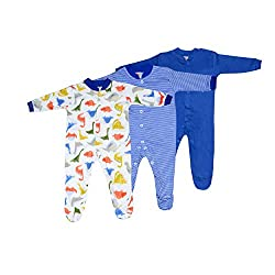 Baby Grow Long Sleeve Cotton Sleep Suit Romper Set Of 3