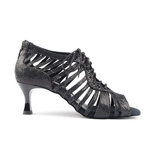 PortDance Damen Tanzschuhe Salsa Tango Sandalette PD812 Pro - Farbe: Schwarz Glitzer - Absatz: 5 cm Flare (klein) - Größe: EUR 39