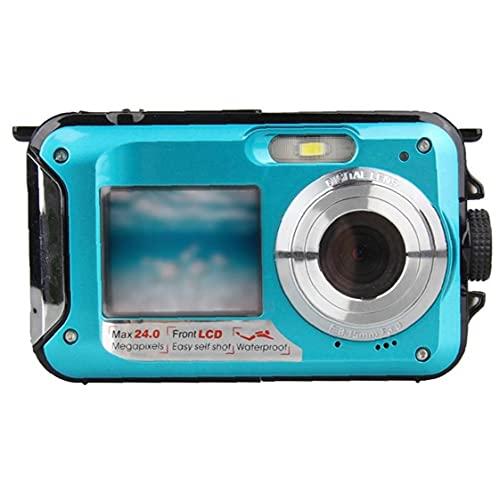 RRunzfon Submarina cámara Digital de la cámara 48MP cámara Impermeable con Doble Pantalla para bucear Nadar Practicar Surf Azul, de Alta definición cámara de vídeo Digital Estudiante