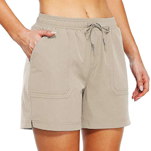 Willit Women's 5' Hiking Shorts Golf Athletic Outdoor Shorts Quick Dry Workout Summer Water Shorts with Pockets Khaki L