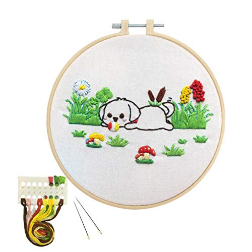 Louise Maelys Animal Embroidery Kit for Beginner Dog Pattern Cross Stitch Needlepoint kit Funny Embroidery Starter Kit DIY Gifts